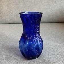 Vintage 70s Ingrid Glashutte German Textured Bark Blue Glass Vase