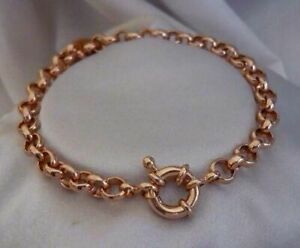 "9ct 9k Rose ""Gold Filled"" Ladies Men Belcher Chain Bracelet .8.7"" + Gift pouch"