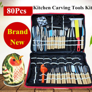 80pcs Kitchen Carving Tools Kit Vegetable Fruit Food Peeling Carving Tools Dinin
