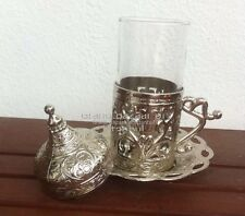 Turkish Water Drink Cup Saucer Lid Copper Glass Arabic TULIP MOTIF Coffee Tea