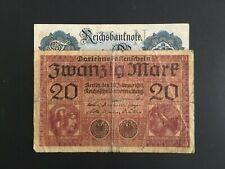 GERMAN EMPIRE. 1914 & 1918 TWENTY  REICHMARK NOTES -:- CIRCULATED.