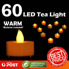 60X Warm LED Tea Light Tealight Candle Flameless Wedding Decoration