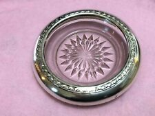 American Sterling Silver & Glass Wine Coasters