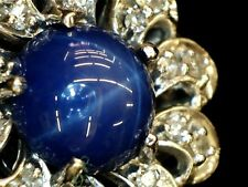 14k white gold star sapphire and diamond pendant