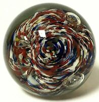 Vintage Multi Color Controlled Bubble Art Glass Paperweight