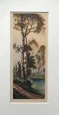 Original Antique Signed Print Birch Tree & River Landscape Study