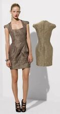 Karen Millen Gold Baroque Jacquard Mini Tulip Metallic Skater Dress Size UK 6/8