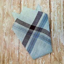 Vintage Linen Blend Pocket Square / Handkerchief Men's Gray & Maroon Striped