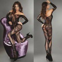 women Sexy Black Fishnet Crotchless Open Crotch Suspender Bodystocking Lingerie