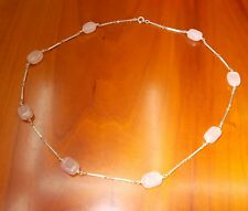Collana in argento con pietre di quarzo rosa