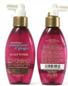 2 Ct OGX Detoxifying Pomegranate & Ginger Scalp Toner Deep Cleansing System 4 oz