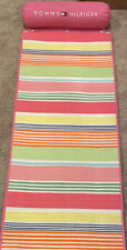 "TOMMY HILFIGER Pink Multi Strip Beach Yoga Mat with Roll Pillow 24"" x 66"""