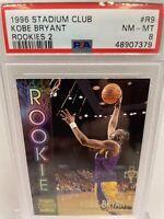 1996 KOBE BRYANT ROOKIE CARD TOPPS STADIUM CLUB R9 PSA 8 RC • NEW HOLDER