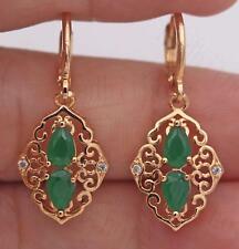 """1.2"""" Earrings18K Gold Filled Emerald Topaz 3D Rhombus Dangle Hoop Hollow Women"""