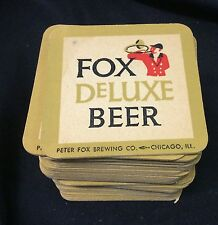"Original Vintage 1970's  lot 4 ""Fox DeLuxe Beer"" coasters Peter Fox Brewing"