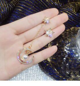 925 Sliver Star Moon Cubic Zirconia Earrings Crystal Woman Drop Dangle Jewelry