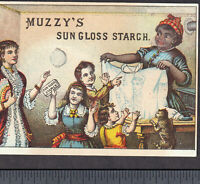 African American Black Housekeeper Muzzys Starch Iron Comic Victorian Trade Card