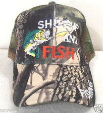 Fishing Hat Mesh Ball Cap Camo Shut Up And Fish Hat Snap Back Adjustment