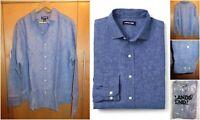NWT Lands End Mens Long Sleeve Blue 100% Linen Shirt L 16-16 1/2