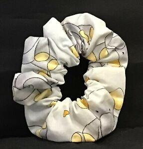 Scrunchie Hair Ties/100% Cotton/Ponytail Holder/Elephant Pattern/Gray Pink Blue