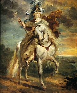 MARIE DE MEDICI AT PONT-DE-CE FRENCH QUEEN WHITE HORSE BY GERICAULT REPRO