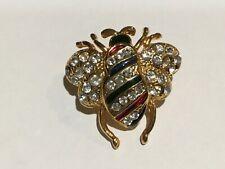 "Pin Brooch Enamel 1 1/4""x1 1/4"" Bumble Bee Insect Bug Crystal Rhinestone Fashion"