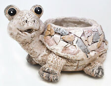 Novelty Rustic Mosaic Happy Tortoise Flower Planter Garden Feature Gift Ornament