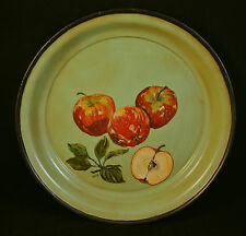 """Vintage Tole Ware Round Tray Hand Painted Green W/ Apples Fruit 14"""" Platter"""