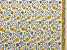 2½ Yards Block Print Cotton Hand Printed Floral Fabric with Border Yellow Blue