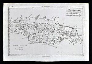 1780 Bonne Map Jamaica Montego Bay Port Royal Kingston West Indies Caribbean Sea