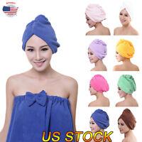 New Quick Dry Twist Hair Turban Towel Microfiber Hair Wrap Bath Towel Cap Hat US