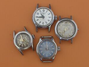 MIDO, BULOVA, CROTON AND WYLER ALL STEEL LADYS VINTAGE WRISTWATCHES,