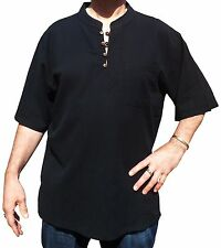 Comercio Justo Nepal Hippy Boho Manga Corta Casual camisa de verano Negro S-