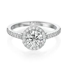 VALENTINE 14K WHITE GOLD ROUND ENHANCED DIAMOND ENGAGEMENT RING 1.50 CT D/VS-SI