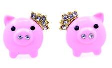 Super cute pink enamel pig / piglet with gold crown stud earrings