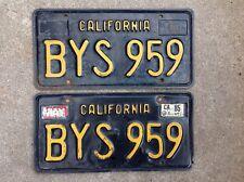 (2) - MATCHING PAIR 1963 - 1969 CALIFORNIA LICENSE PLATES