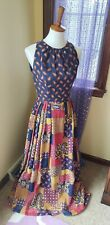 Vintage 70's Hippie Boho Ethnic Paisley Patchwork Maxi Dress Size S/M