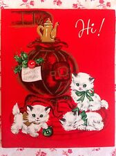 Vintage UNUSED Christmas Greeting Card with Cute Kittens and Pot Belly Stove