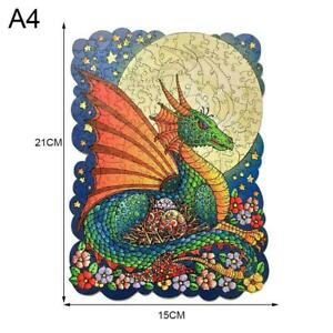 Moon and Dragon Wooden Jigsaw Puzzle Unique Animal Pieces Gift Y4J8