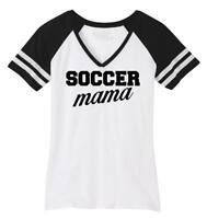 Ladies Soccer Mama Game V-Neck Tee Mom Mother Sports