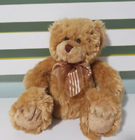 TEDDY AND FRIENDS TEDDY BEAR  BROWN WITH BROWN BOW 22CM SEATED!