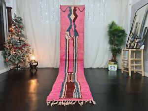 "Moroccan Boujaad Handmade Runner Rug 2'3""x11'5"" Berber Abstract Pink Wool Carpet"