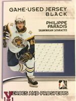 2009-10 ITG Heroes & Prospects Game-Used Jersey Black Philippe Paradis Vault 1/1