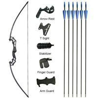 """53"""" Archery Straight Bow 20-50lbs Fishing Hunting Takedown Recurve Bow Target"""