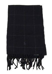 Polo Ralph Lauren Men's Navy Plaid Pattern Wool Blend Fringe Scarf