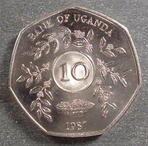 Uganda, Cu-Ni 10 Shillings, 1987, BU