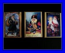 Three Vintage Postcard Gift Boxes Of Santa For Christmas