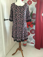 ATMOSPHERE BLACK & PINK FLORAL BOHO STYLE DRESS WITH CROCHET TRIM – UK SIZE 10