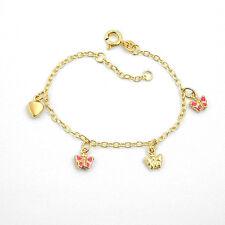 Echt Gold 333 Kinder Motiv Armband fabig emailliert Herz rosa Schmetterling 14cm