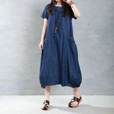 ZANZEA 8-24 Women Short Sleeve Club Party Plus Size Kaftan Long Maxi Denim Dress